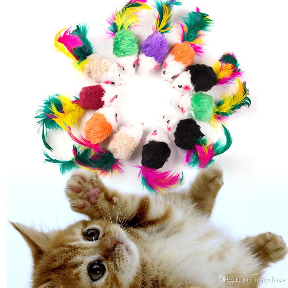 القط لعب 2 بوصة مضحك القط محاكاة اللون الذيل ماوس لعبة مستلزمات الحيوانات الأليفة ارتداء ودغة المقاومة