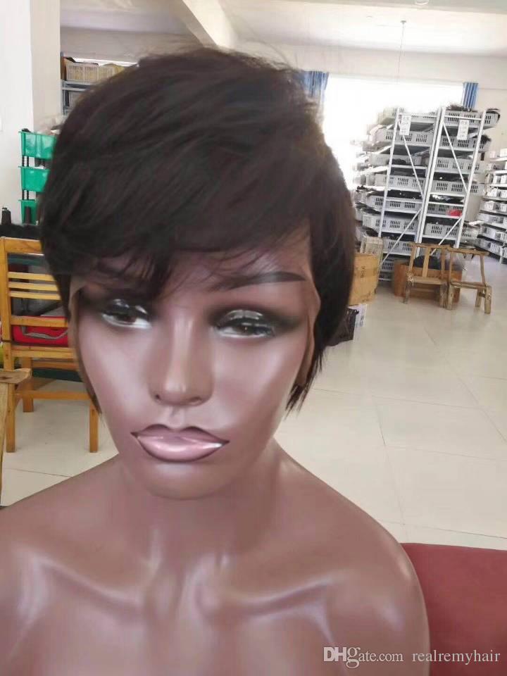 Pelucas de pelo humano corto Pelucas brasileñas brasileñas del pelo humano del duendecillo Pelucas brasileñas del frente del cordón del pelo humano recto 100 atractivas para las mujeres negras