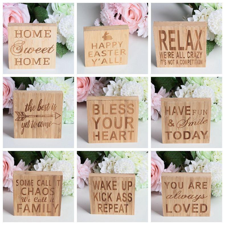 Bois panneau indicateur Plaque plaques mot décoratif Ornement en bois VOUS AIMÉ TOUJOURS HOME SWEET HOME pour Home Décor 10 * 10 cm