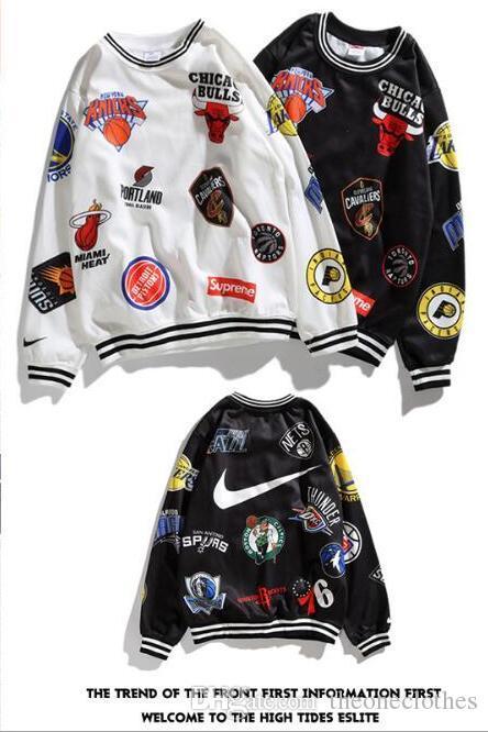 Felpe con cappuccio degli uomini nuovi di marca congiunta Basketable squadra distintivo con cappuccio uomo autunno manica lunga pullover maglione felpe hip hop sciolto sportswear