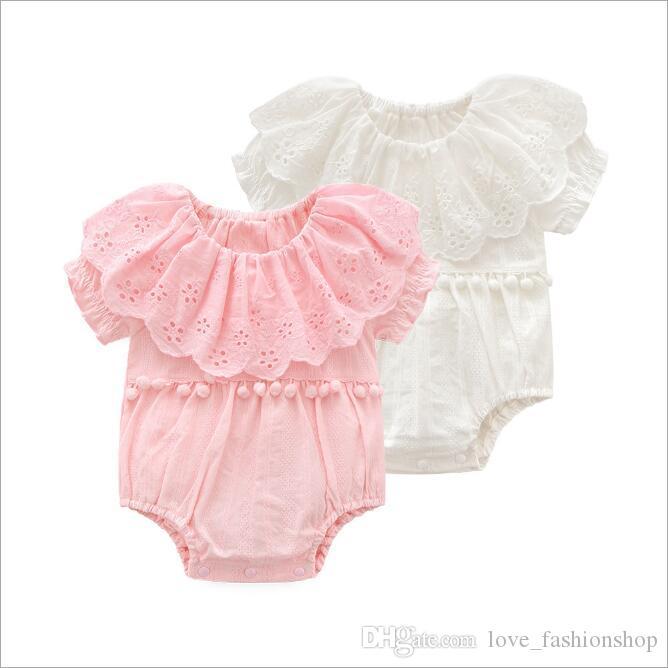 Branco Rosa Bebê Meninas Lapela Escavado Flores Princesa Macacões Com Borlas Crianças Jumpsuits Infantios Crianças Roupas