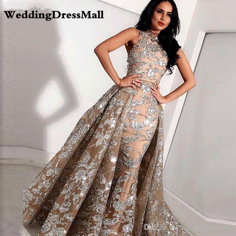 Long Grey Champagne Lace Mermaid High Neck Arabic Evening Gowns 2019 kaftan Dubai Formal Prom Dress with Detachable Skirt