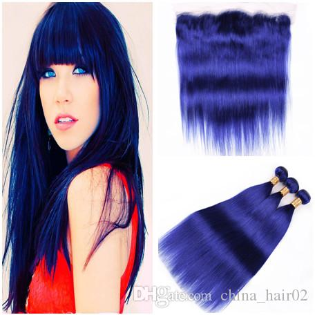 الأزرق الداكن العذراء البرازيلي الإنسان الشعر ينسج 3 حزم مع حريري مستقيم نقي اللون الأزرق الرباط أمامي إغلاق 13x4 الأذن إلى الأذن