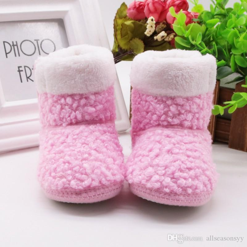 Winter Autumn Warm Baby Ankle Snow Boots Cute Infant Crochet Knit Fleece Baby Shoes For Boys Girls