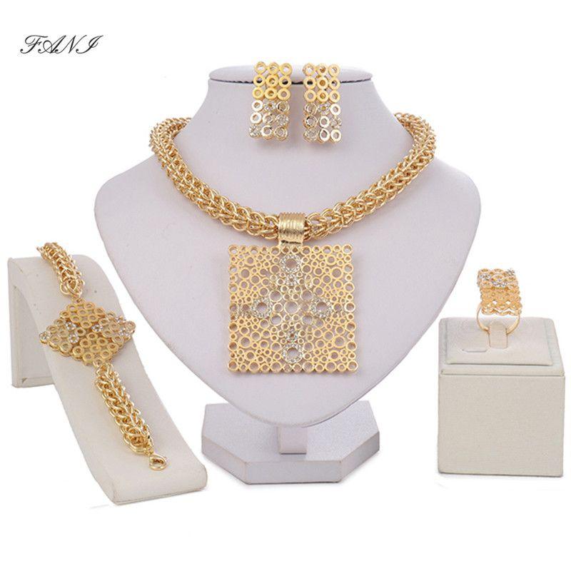 Fani Dubai color dorado conjuntos de joyas de la marca accesorios de la mujer nigeriana de la boda Gran conjunto de joyas de moda cuentas africanas