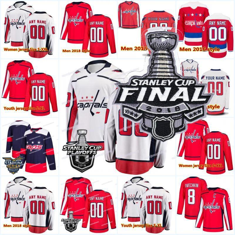 2018 Neu 8 Alex Ovechkin 70 Holtby 19 Zurück 74 John Carlson 77 TJ Oshie Washington Hauptstädte Stanley Cup Playoffs Finale Hockey Trikots