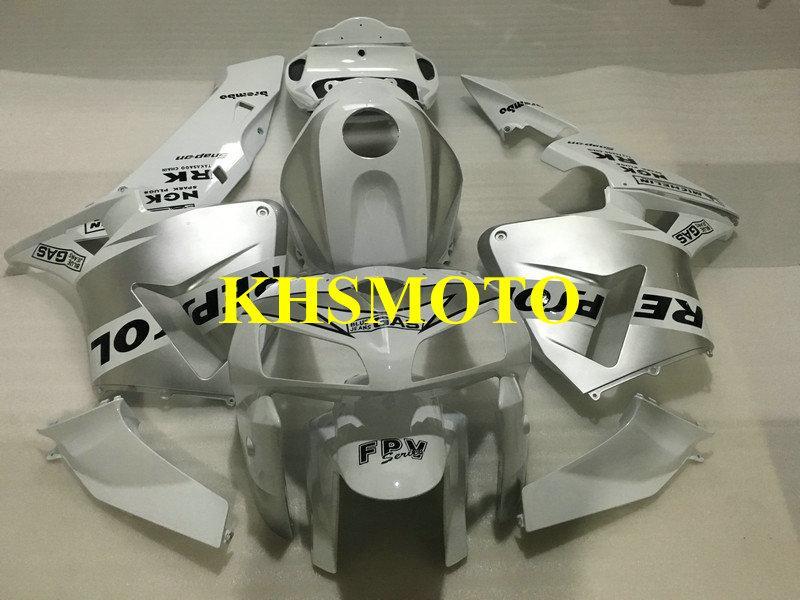 Moulage par injection carénage kit pour HONDA CBR600RR 05 06 CBR600RR 2005 2006 Carrosserie CBR 600RR F5 Argent blanc Carénages ensemble + cadeaux