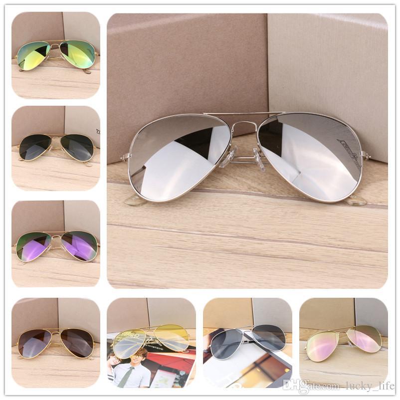 2018 Whosale MOQ=200PCS Pilot classic sunglasses Designer Eyewear Flash Sun Glasses For Mens Womens Mirror Sunglasses 22Colors DHL