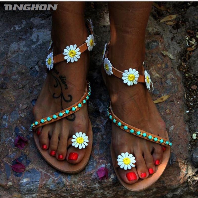 TINGHON лето Женская обувь сандалии цветок белый ромашка синий камень стринги плоские сандалии женщин Гладиатор размер Us4-12