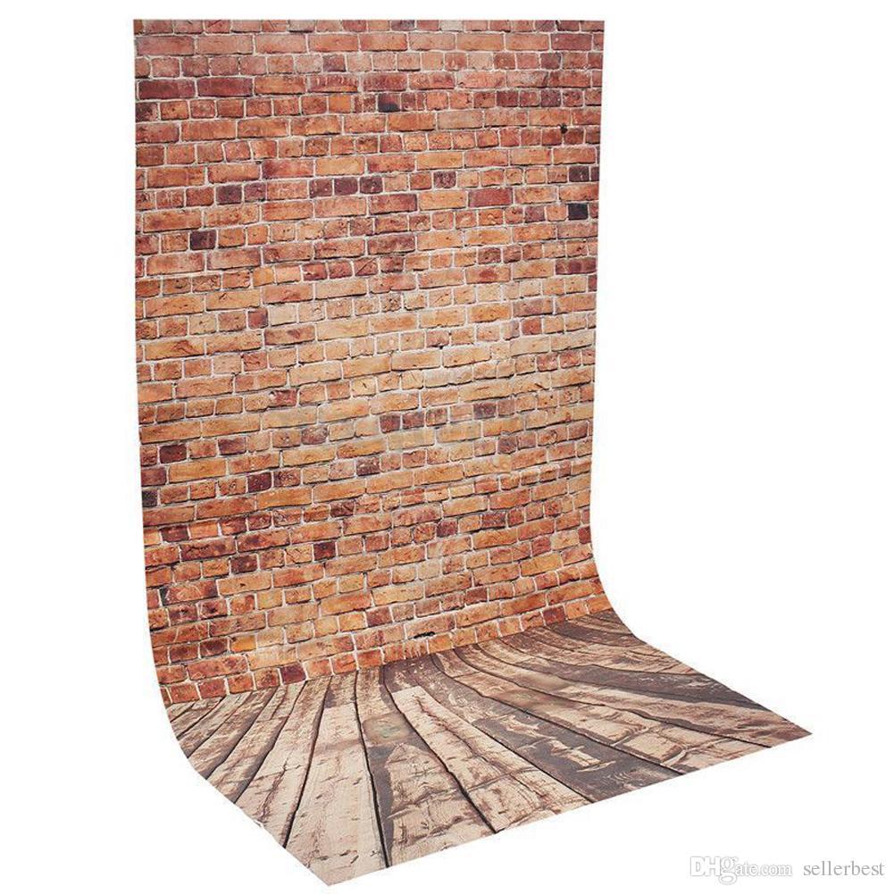 Brand New 3x5FT Mur de briques Photographie Toile de fond Rétro Photo Fond de plancher en bois Pour Photo Studio Toile de Fond Prop