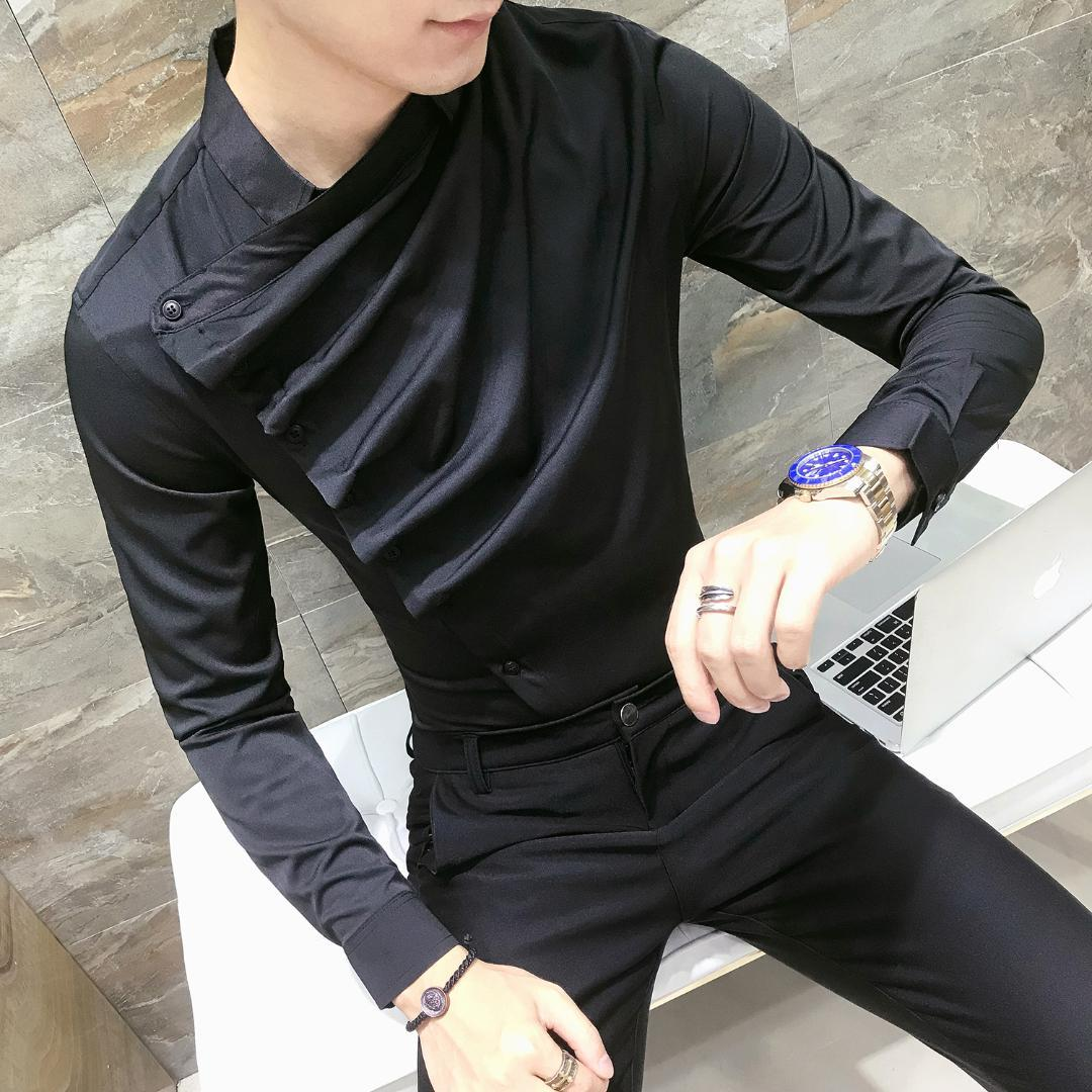 2019 Hombre Vestir Dress 2018 Casual Slim Fit Mens Chemise Homme Men Solid Mesh Heren Hemden Dress Party Club DJ Singer Shirts From Honey333, $38.21 |