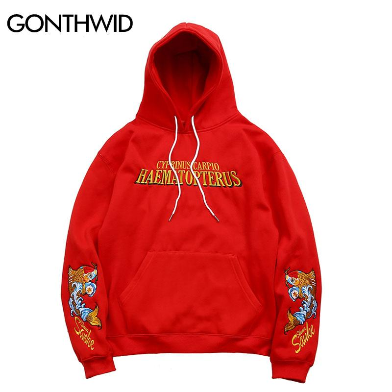 Men Japanese Embroidery Carp Fish Fleece Hoodies Japan Style Casual Pullover Hooded Sweatshirts 2018 Autumn Male Street