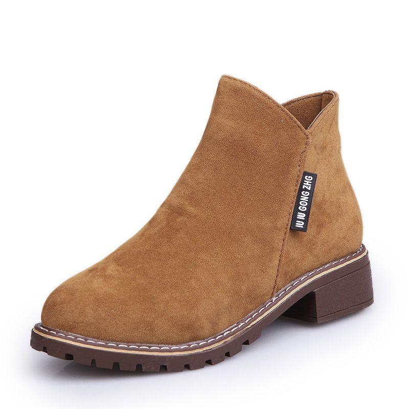 여성 부츠 2018 가을, 겨울 새 플러스 벨벳 마틴 부츠 여성 사이드 지퍼 부츠 낮은 굽 대학 바람 여성 신발