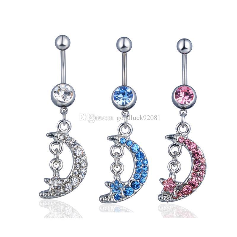 Kadınlar Ay Yıldız Kristal Belly Button Yüzükler Kelebek Çiçek Göbek Göbek Piercing Paslanmaz Çelik Vücut Piercing Halter Düğün Hediye