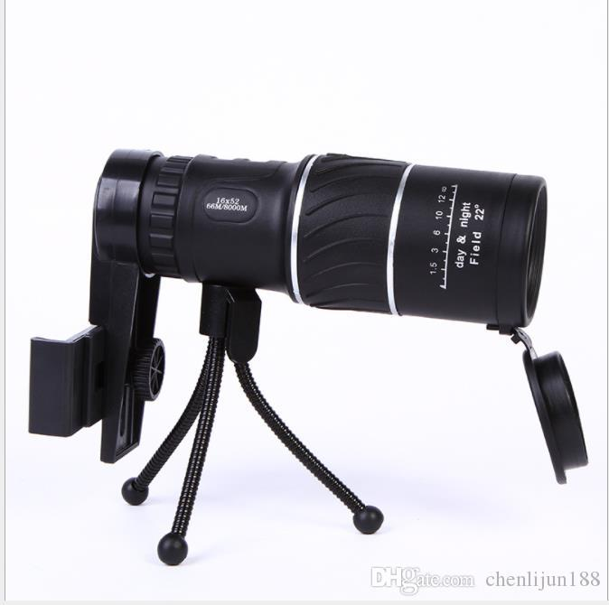 Новый 16X52 саржа низкой освещенности визуальный одной трубки фото принимая HD мобильные телескопы