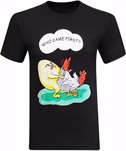 летние футболки кто пришел первый куриное яйцо смешные мужские с коротким рукавом футболки