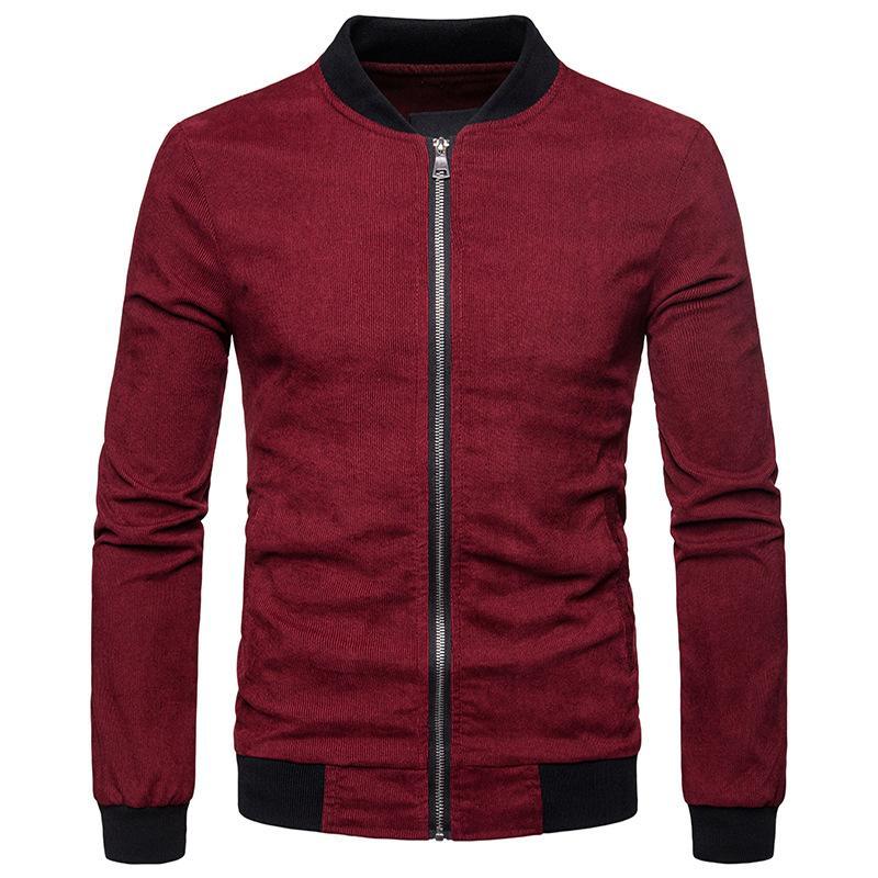 Мужская сплошной цвет Вельвет куртка мужчины Осень Зима молния бомбардировщик куртка мужская повседневная куртки и пальто Бейсбол Varsity