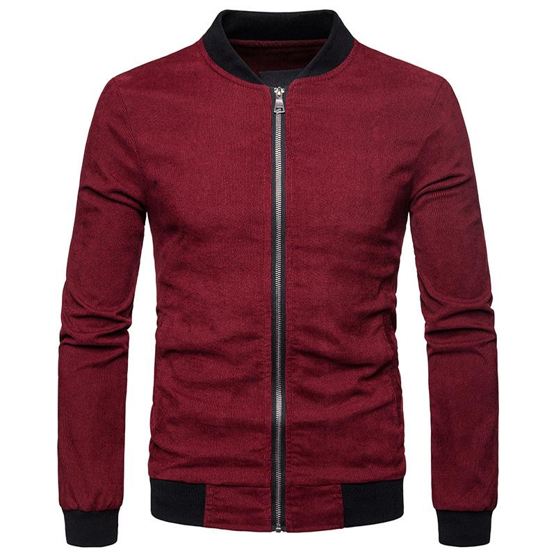 Mens Solid Color Corduroy Jacket Men Autumn Winter Zipper Bomber Jacket Mens Casual Jackets and Coats Baseball Varsity