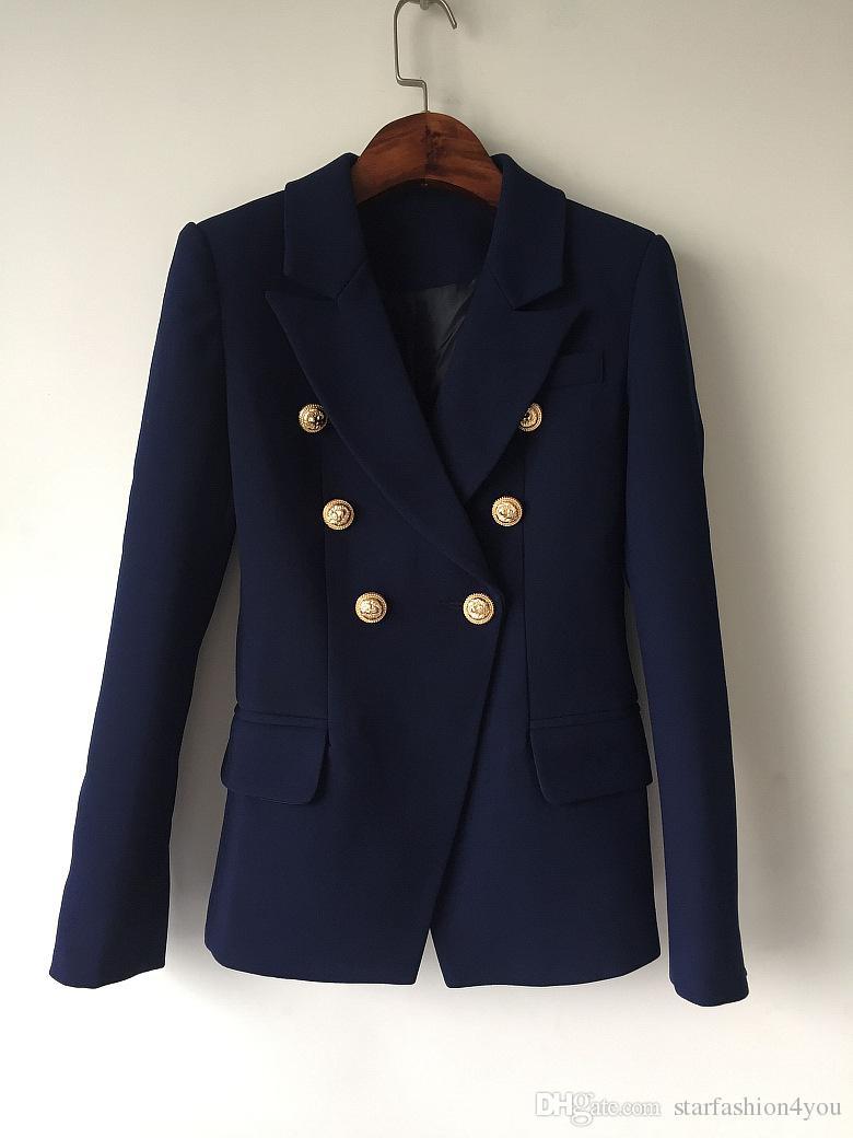 Heiße Persönlichkeit Neue Top Quality Original Design Frauen Zweireiher blaue schlanke Jacke Metallschnallen Blazer Navy Mischen Outwear
