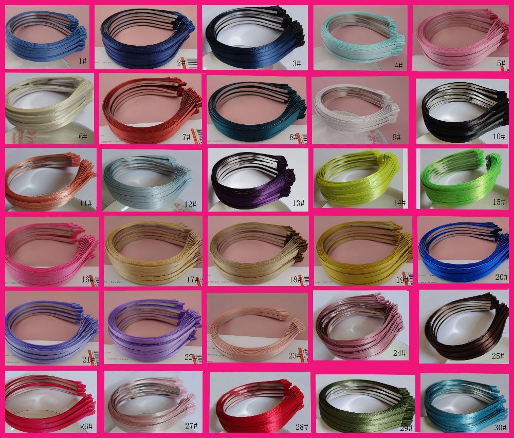 10PCS Assorted colors 5mm satin ribbon covered plain Metal Hair Headbands for DIY Hair jewelry,5mm fabric lined wire hairbands