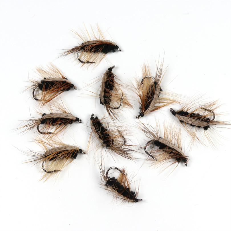 6 pcs Hair Wing Caddis Black size 18