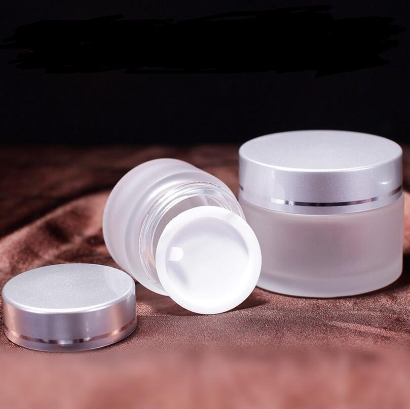 Recarregável 15g frascos de vidro fosco, 15 ml frascos de creme de geléia frascos de creme de cuidados da pele, 0.5 oz embalagens de embalagens de cosméticos LX1189