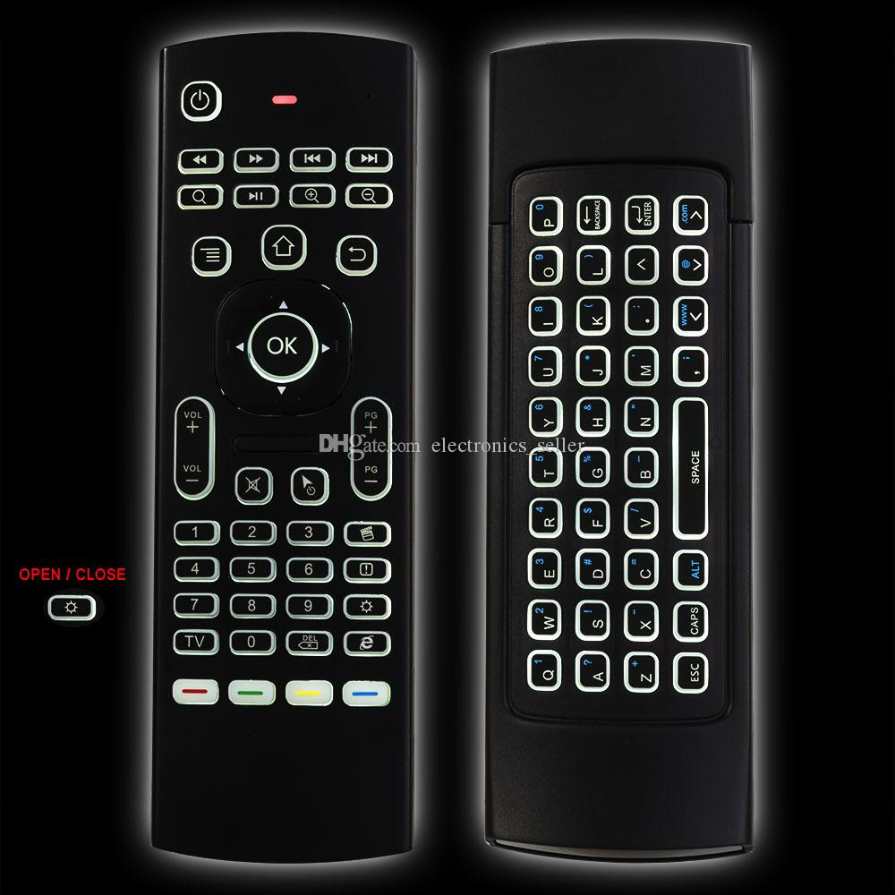 X8 Air Fly Mouse MX3 Backlit 2.4GHz Wireless Keyboard Remote Control Somatosensory IR Learning 6 Axis without Mic for Android TV Box