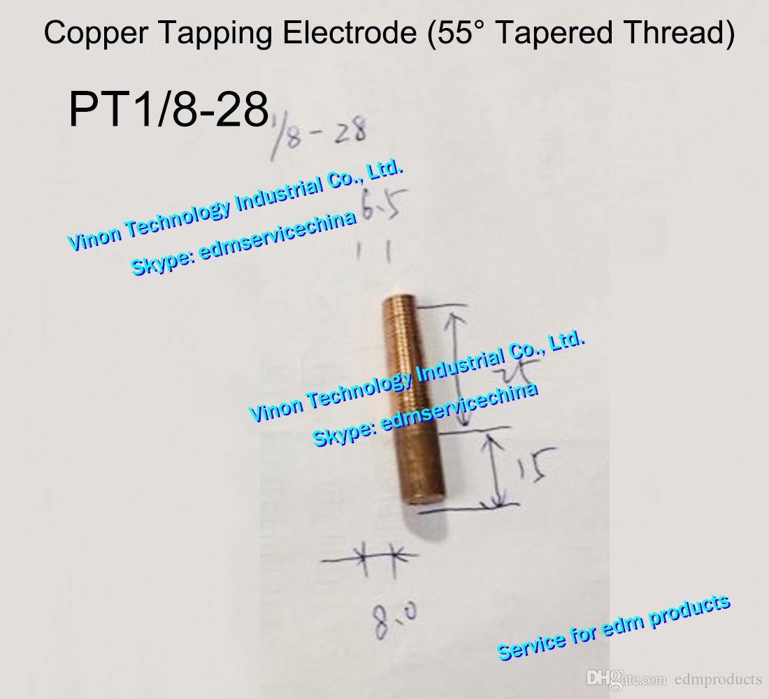 (5 sztuk) BSPT 1 / 8-28 Elektroda gwintu miedziana (55 ° zwężający się gwint), ERECTROS ELECTRODE COPER, Brytyjska elektroda gwintowa Całkowita L = 40mm