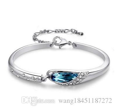 Kore moda takı 925 saf gümüş bilezik kristal gümüş bilezik Kore gümüş takı toptan