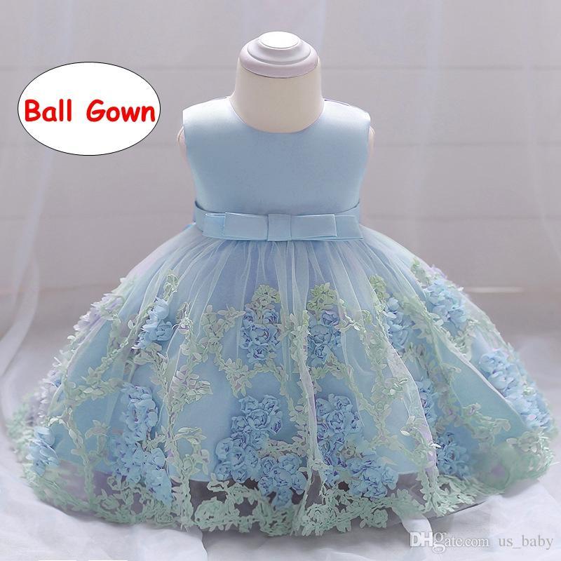 Baby Girl Vintage Dress Niña del niño vestidos de bautismo para la fiesta de cumpleaños del bebé vestido de bola infantil 4 colores 3 tamaño