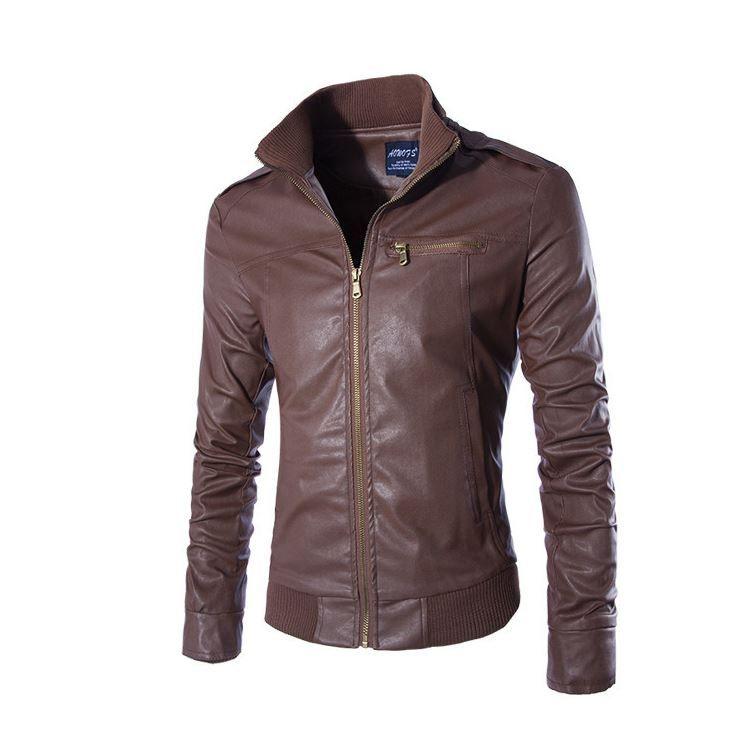 2015 New arrivals men leather jacket motorcycle zipper outerwear casual slim fit pu coats 3 colors M-3XL