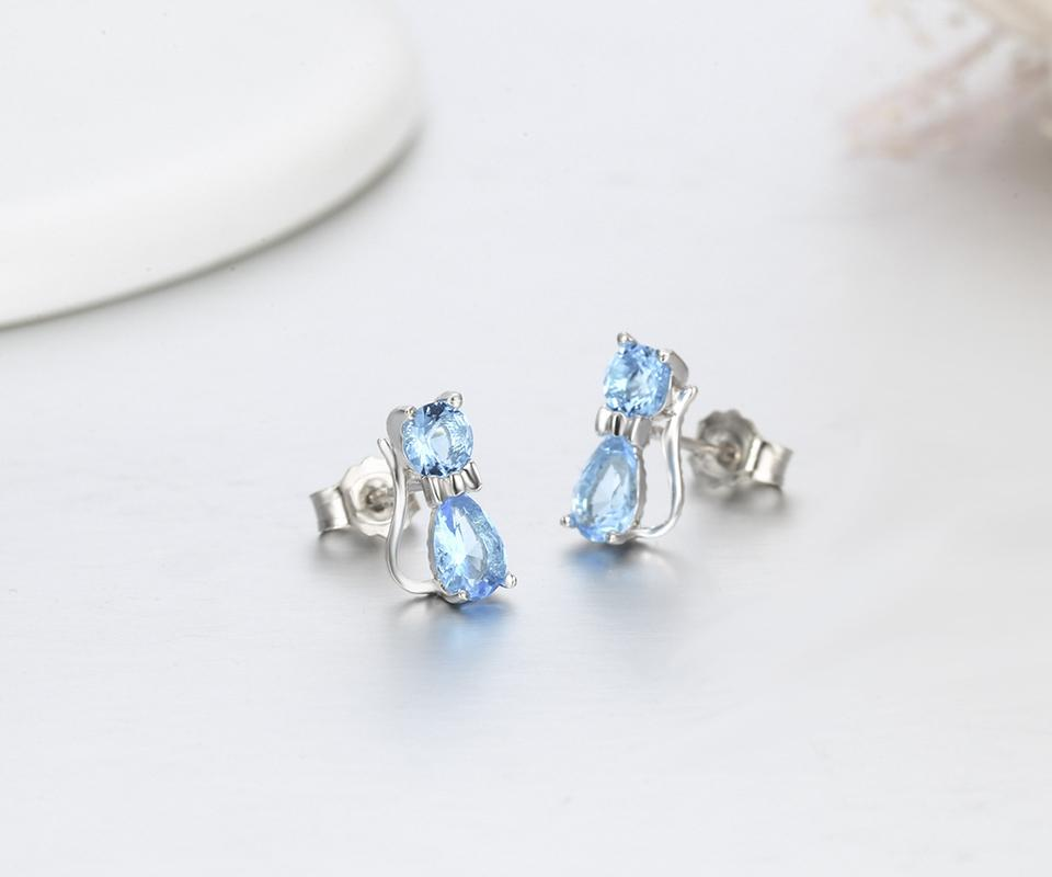 Girls Cat Crystal Ear Studs 925 Sterling Silver