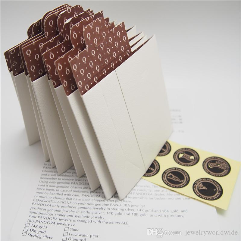 تبدأ 20 قطع عينة البسيطة ورقة مربع حزمة هدية حقيبة ل باندورا سحر الخرزة قلادة أقراط الطوق قلادة مجوهرات تغليف العرض