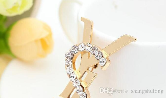 2018Women Chic Crystal Strass Lettere Bouquet Spilla Spille Breastpin Festa di Nozze Gioielli Accessoryje0477