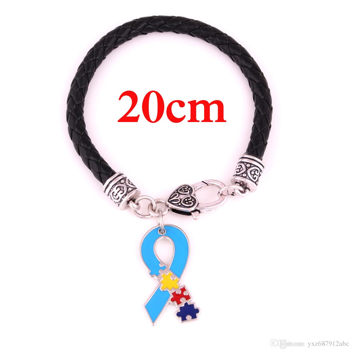 Autism Hope Jewelry Awareness Puzzle Piece Enamel Ribbon Charm Pendent Black White Leather Chain Lobster Claw Bracelets