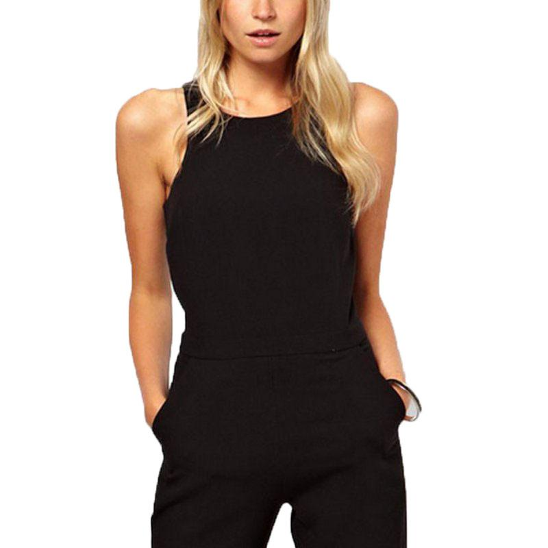 Plus Size Overalls Summer Style 2018 Women Casual Black Back Zipper Hollow Sleeveless Long Playsuits Rompers Womens Jumpsuit