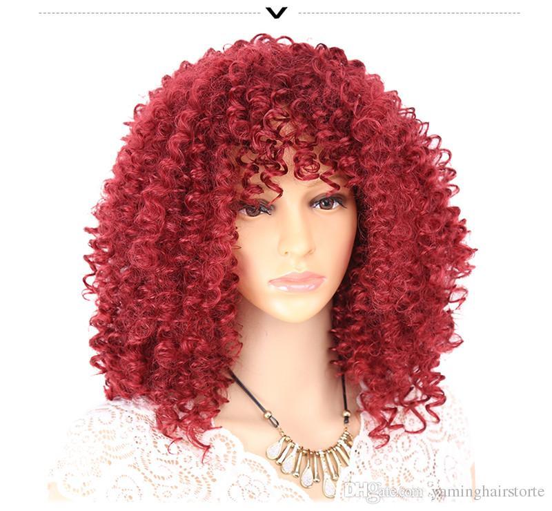 아프리카 여성을위한 곱슬 곱슬 곱슬 곱슬 한 가발 합성 내열성 섬유 검은 갈색 빨간색 전체 가발 코스프레 가발