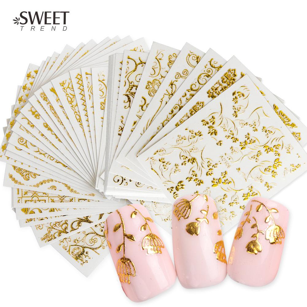 Nail 3D gold plated floating gold sticker 26 AD series of art national wind lace leaf nail decorating tool