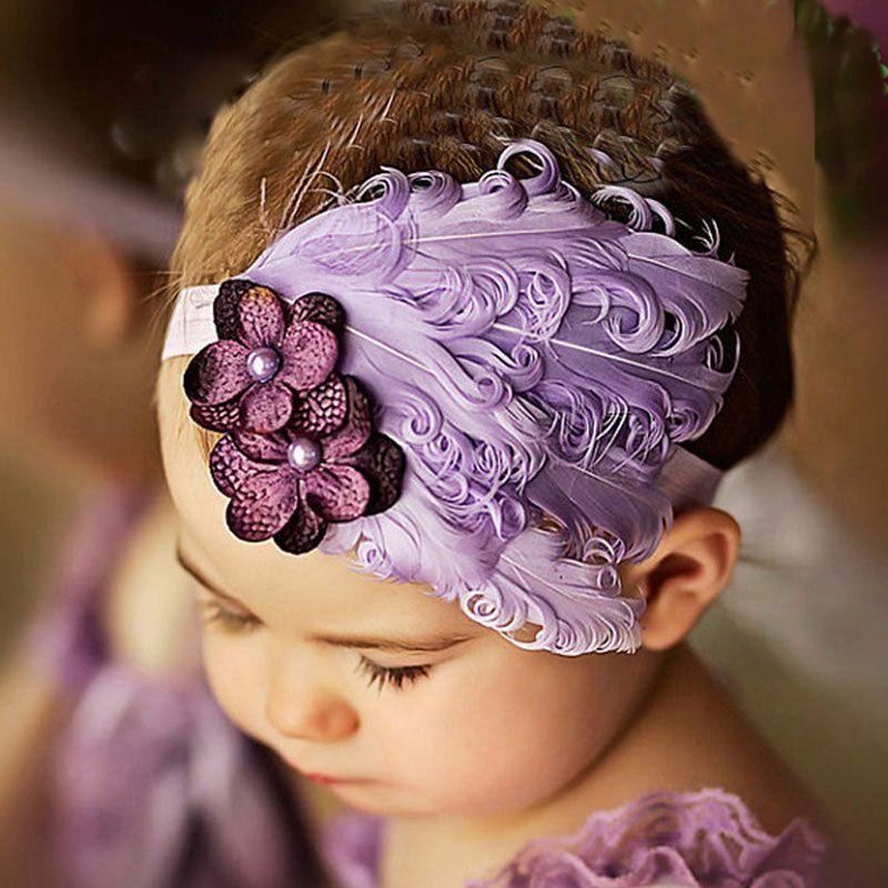 Hot Sale 1pcs beautiful Cute Baby Girl Children Feather Flower for Headbands