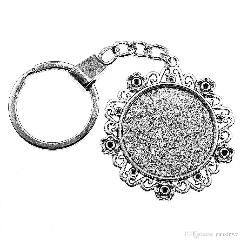 6 Pieces Key Chain Women Key Rings Couple Keychain For Keys Flower Small Grass Inner Size 30mm Round Cabochon Cameo Base Tray Bezel Blank