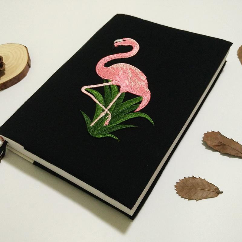 A5 Embroidery Flamingo Canvas Cover NotCute Journal Diary Book Stationery School Office Supplies Xmas Gift for Girls Boys