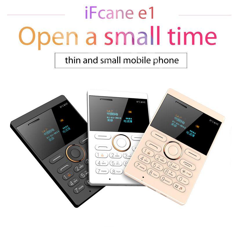 Transporte rápido Ultrafino iFcane E1 Mini cartão de telefone Student desbloqueado Mobile Phone bolso Phone Low Radiation Multi Language