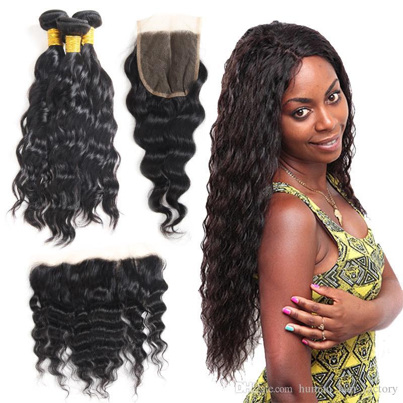 Ondas de agua brasileñas del pelo virginal de la Virgen mojadas y onduladas Extensiones del pelo humano sin procesar de la onda de agua Malasia con el encierro del cordón 4x4
