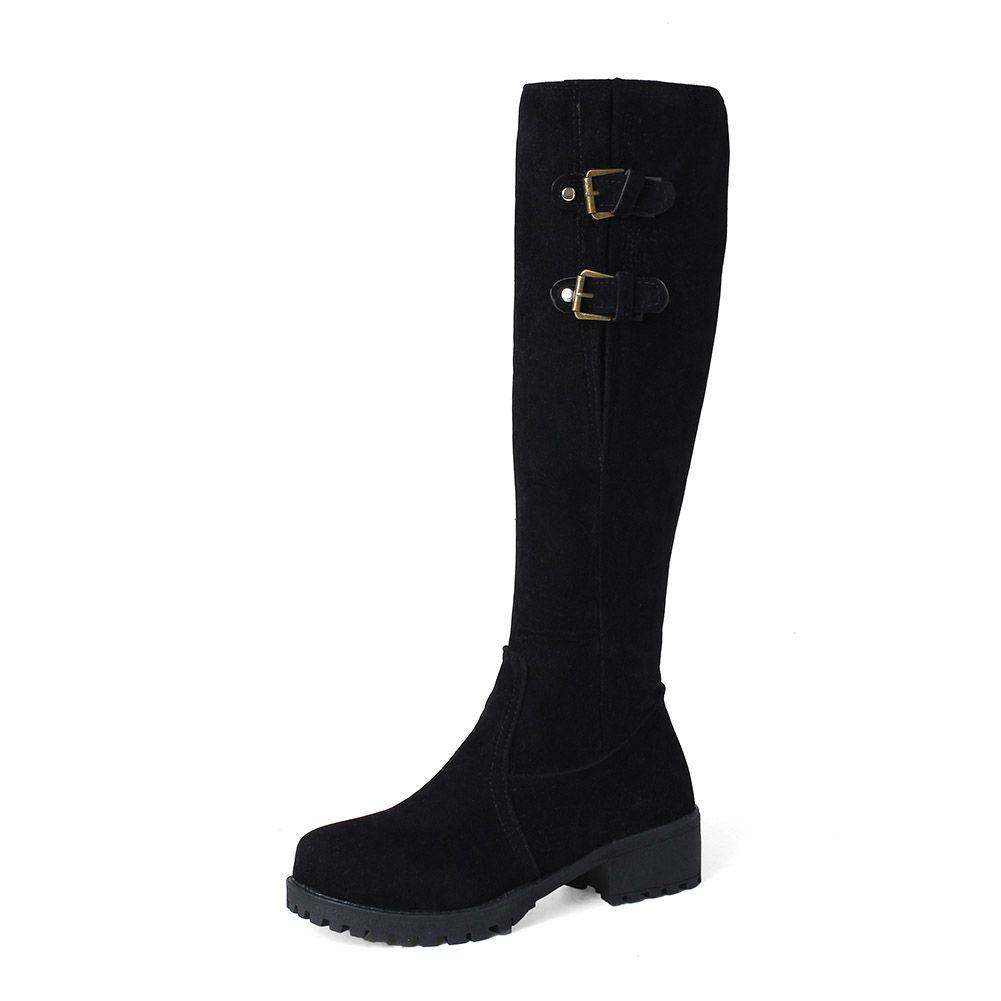 3 Colors Hot Sale Knee High Fur Boots Women 33-44 Med Heels Zip Women Shoes Woman Thick Fur Addable