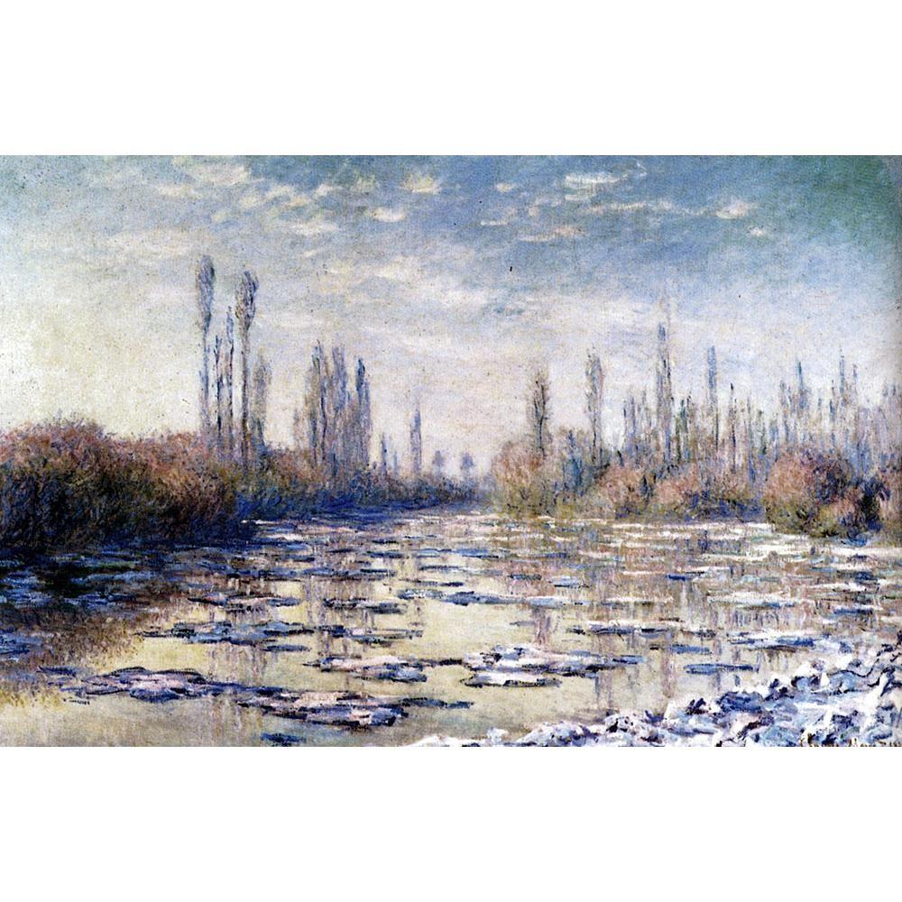 Pintura a óleo da arte da lona Gelo Flutuante Perto Vetheuil by Claude Monet impressionista obras de arte para decoração do quarto