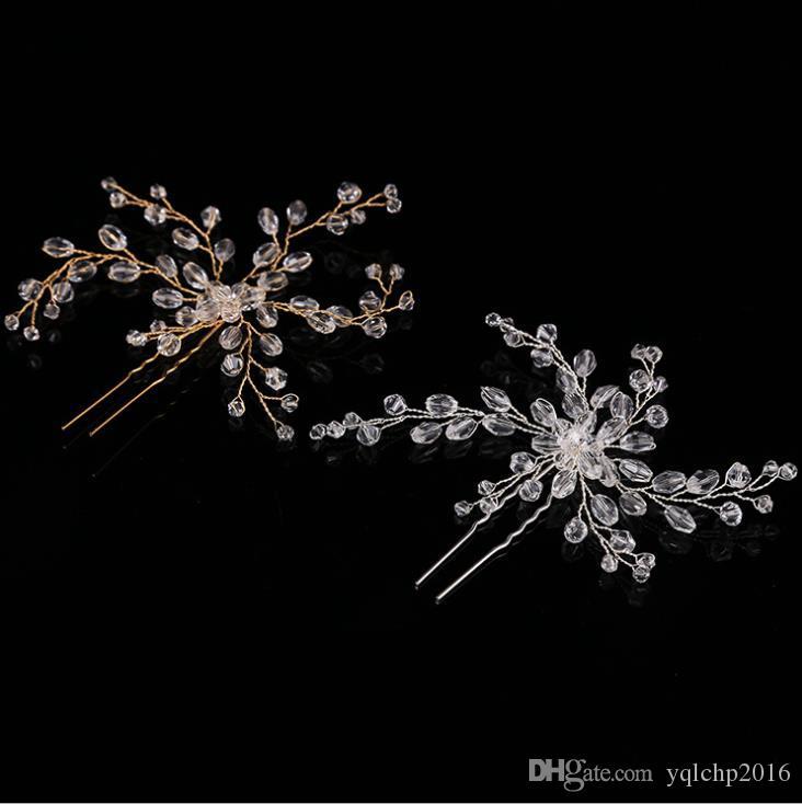 Sombrero de novia de cristal, horquilla, adorno hecho a mano con perlas, vestido de novia, joyas de novia