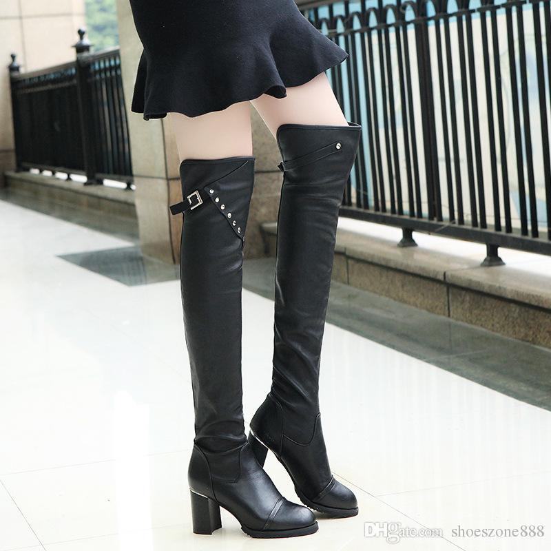 Winter-lange Stiefel der reizvollen Frauen Winter über den hohen Schuhen des Kniehöhens hohen Fersen Frau lädt schwarze Farbenschnalle zv220 auf