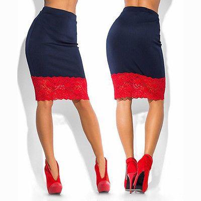 2df92f25d Compre Sexy Mujeres Formal Estiramiento De Cintura Alta De Encaje Corto  Mini Falda Falda Lápiz Rojo Negro Falda A $7.57 Del Ckline | DHgate.Com