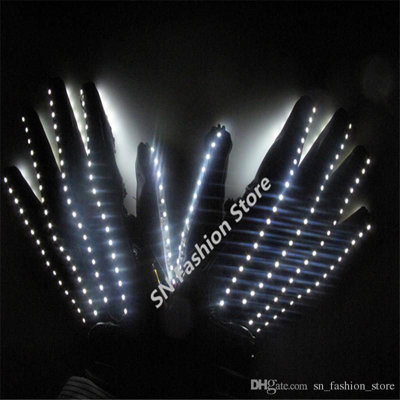 T15 LED gloves lighting costumes ballroom dance props white color two sides light gloves burst model gloves party dj disco wears performance