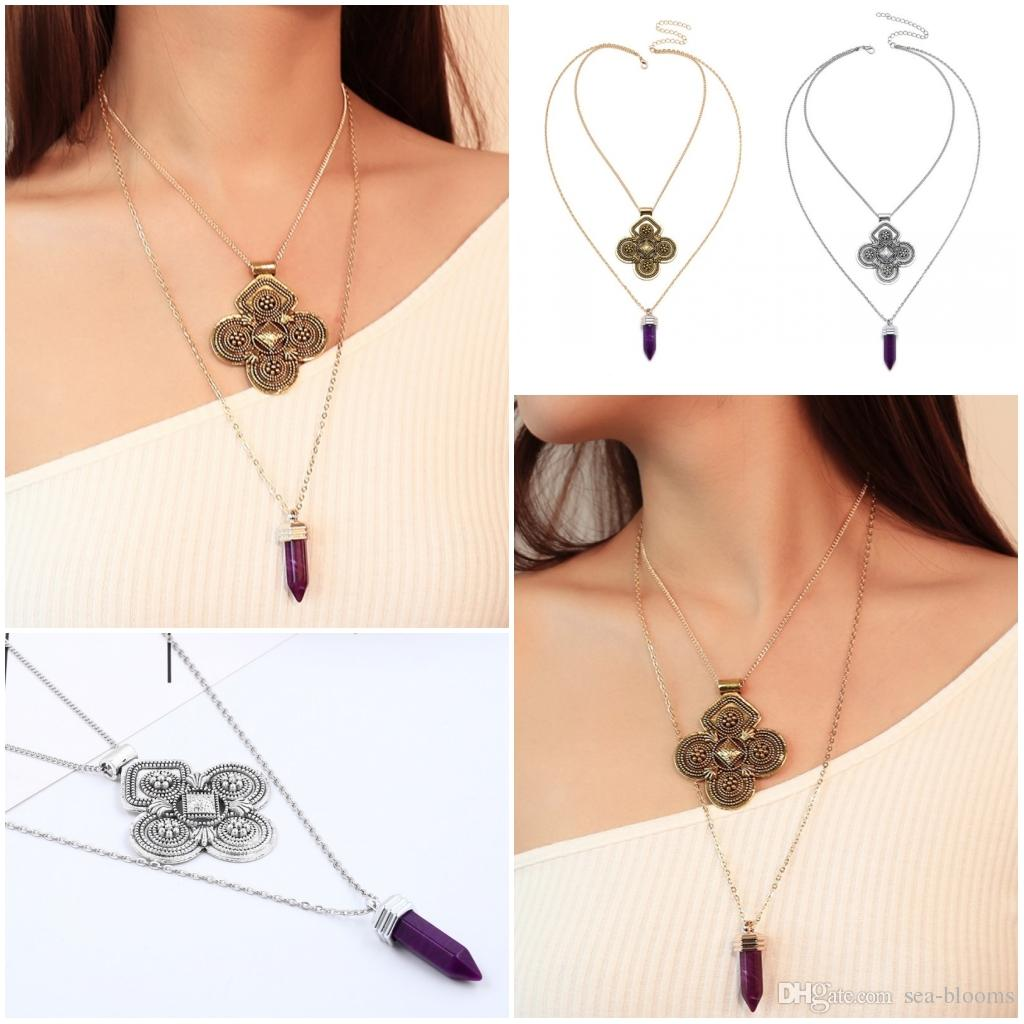Lewelry Colorful Stone Multi-Layer Necklace for Girls and Women Good Gift